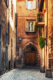 Small alley in the Tuscan village - 71878705
