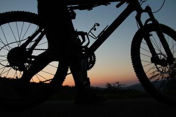 Mountainbiker läuft mit dem Fahrrad