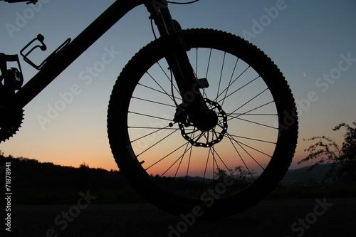 Leinwanddruck Bild Vorderteil eines Mountainbikes