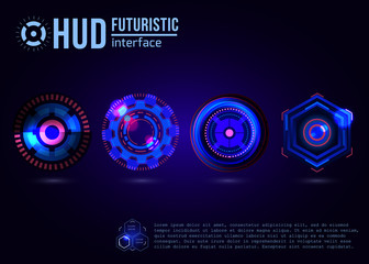 Futuristic HUD interface elements. Virtual touch user. Vector