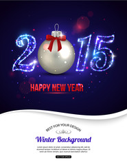Happy New Year 2015 celebration concept with silver ball and