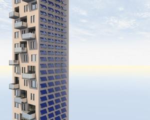 Hoog gebouw met gevel bedekt met zonne panelen