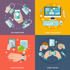 Digital health icons set flat