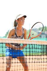 Frau am Tennisplatz, München, Bayern, Deutschland