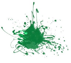 Splash of green paint isolated on white