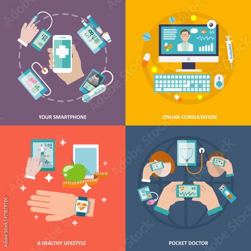 Digital health icons set flat - 71879700