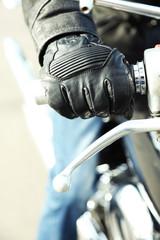 Hand rider on handlebars, close-up