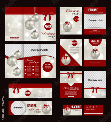 Set of Christmas corporate business stationery templates. - 71879959