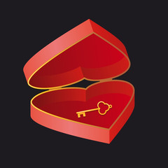 Open heart. Key and the box in the shape of heart