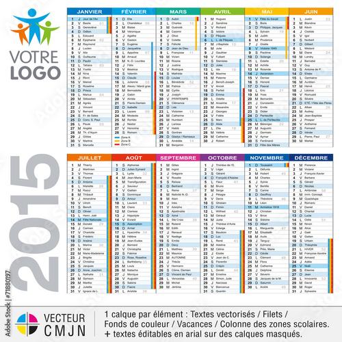 calendrier 2015 avec vacances scolaires fichier vectoriel libre de droits sur la banque d. Black Bedroom Furniture Sets. Home Design Ideas