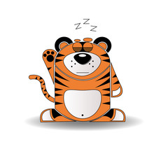 Cartoon illustration of a tiger with a sleepy expression.