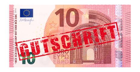 """10 Euro Geldschein mit Stempel """"Gutschrift"""""""