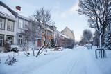 Fototapety Winter view of street in Trondheim city Norway
