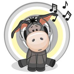 Donkey with headphones