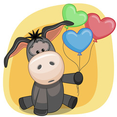 Donkey with balloons