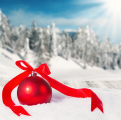 Winter scenery with christmas ball
