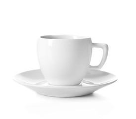 Cup of coffee with splashes, isolated on white
