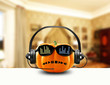 Music pumpkin in the headphones and sunglasses