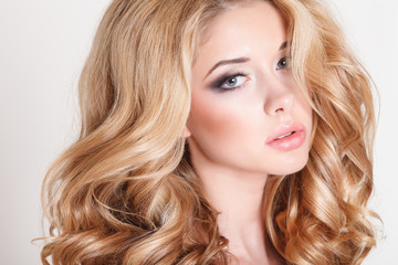 Beauty woman portrait, fashion girl long blond hair makeup
