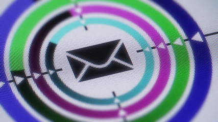 E-mail icon on the screen. Looping.