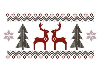 Weihnachtsbäume und Rentiere