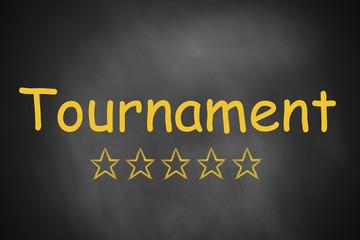 black chalkboard tournament five stars