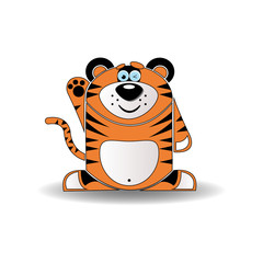Cartoon illustration of a tiger with a sly expression.
