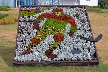 ice hockey player made of flowers
