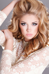 Beauty woman portrait, fashion girl long blond hair makeup