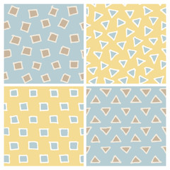 Cute Hand Drawn Seamless Patterns Set: squares and triangles