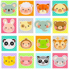 collection of cute animals over polka dotted swatches