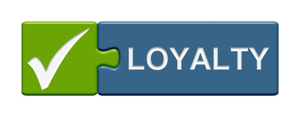 Puzzle Button grün blau: Loyalty