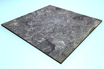 Vista satellitare di Mosca, Russia, mappa, sezione 3d
