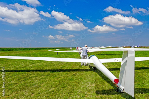 Fototapeta Gliders waiting to go into the air