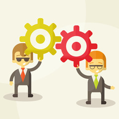 businessman with gears, team work, Vector Illustration