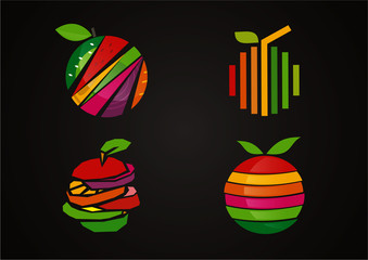 Fresh Fruit Set Vector Logo Symbol