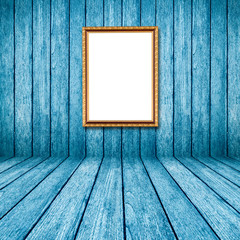 blue wood perspective background with frame photo in room interi