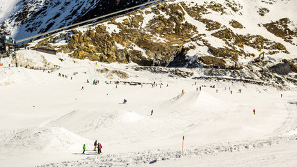 Ski landscape with resting people