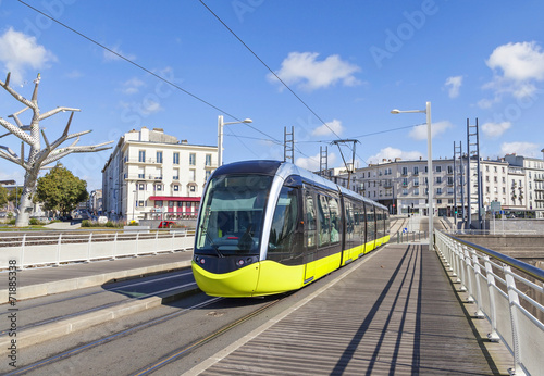 Yellow tram an the street of Brest, France - 71885338
