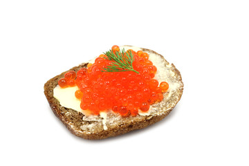 sandwich with red caviar on a white background