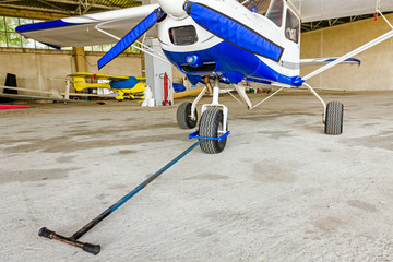 Tow bar attached to the nose wheel