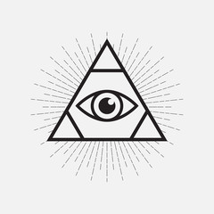 All seeing eye symbol, triangle with rays