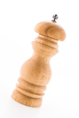 Black pepper wood bottle isolated on white background