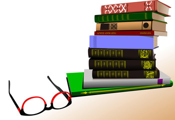 Vector illustration of column books with spectacles image