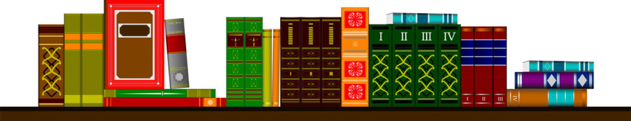 Vector illustration bookshelf library with books