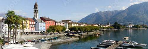Leinwanddruck Bild The waterfront of Ascona on Switzerland