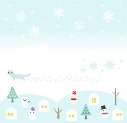 冬の家と雪だるまのフレーム