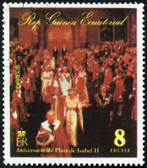stamp printed by Equatorial Guinea, shows Isabel II and People