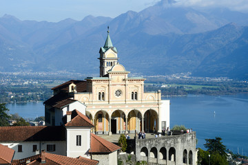 Madonna del Sasso, medieval monastery on the rock overlook lake