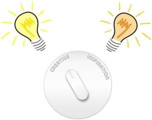 Creativity and inspiration circle switch with light bulbs